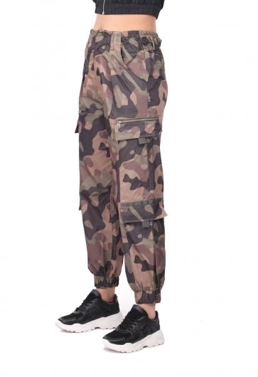 Elastic Waist Camouflage Patterned Trousers - Thumbnail