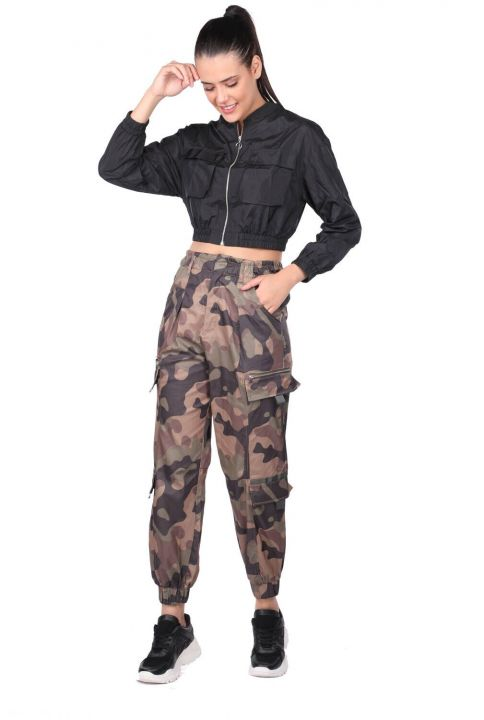 Elastic Waist Camouflage Patterned Trousers