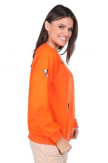 MARKAPIA WOMAN - سويت شيرت نسائي برتقالي مطرز بشخصيات كرتونية (1)