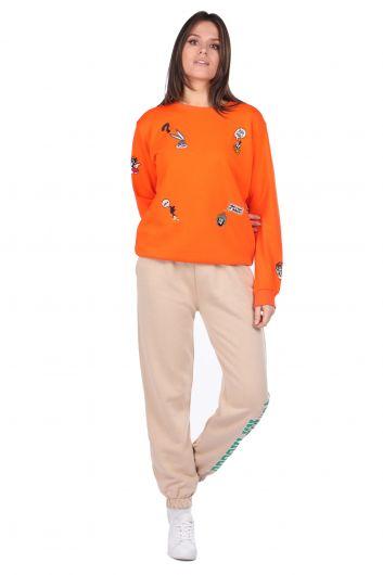 سويت شيرت نسائي برتقالي مطرز بشخصيات كرتونية - Thumbnail