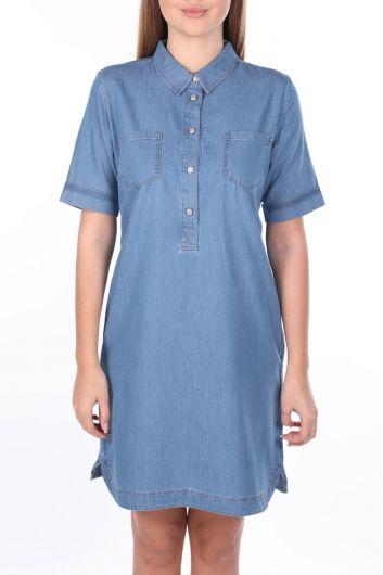 Women's Shirt Collar Jean Dress - Thumbnail