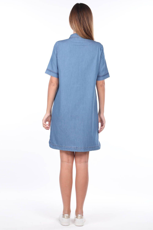 Женское джинсовое платье с воротником-стойкой