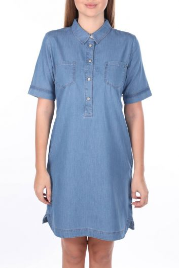 Женское джинсовое платье с воротником-стойкой - Thumbnail