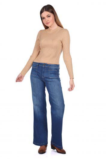 Comfortable Fit Wide Leg Women Jean Trousers - Thumbnail