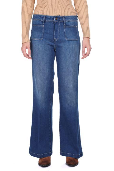 Комфортные женские джинсовые брюки с широкими штанинами