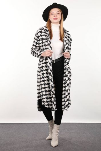 Houndstooth Patterned Long Women's Jacket - Thumbnail