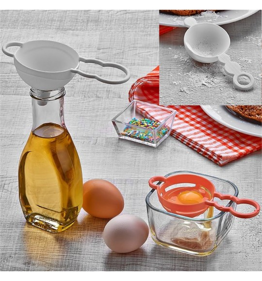 Ситечко для чая, воронка и сепаратор для яиц