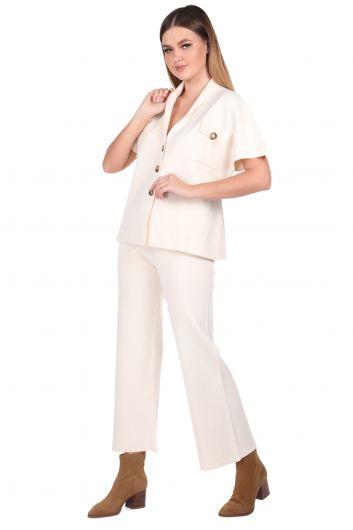 MARKAPIA WOMAN - Çelik Örme Ekru Pantolon Bluz Kadın Triko Takım (1)