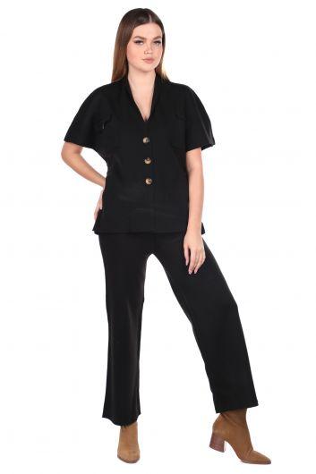 Çelik Örme Siyah Pantolon Bluz Kadın Triko Takım - Thumbnail