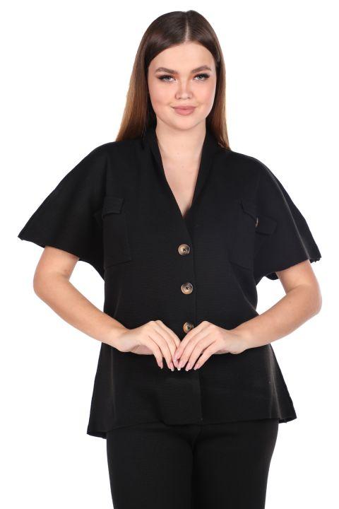 Çelik Örme Siyah Pantolon Bluz Kadın Triko Takım