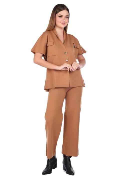 Çelik Örme Taba Pantolon Bluz Kadın Triko Takım