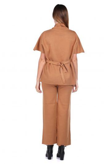 Çelik Örme Taba Pantolon Bluz Kadın Triko Takım - Thumbnail