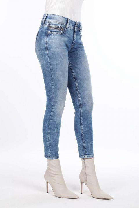 Cep Detaylı Dar Kesim Jean Pantolon
