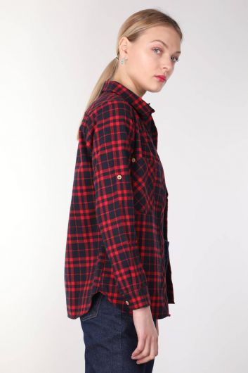BLUE WHITE - Pockets Burgundy Plaid Women's Shirt (1)