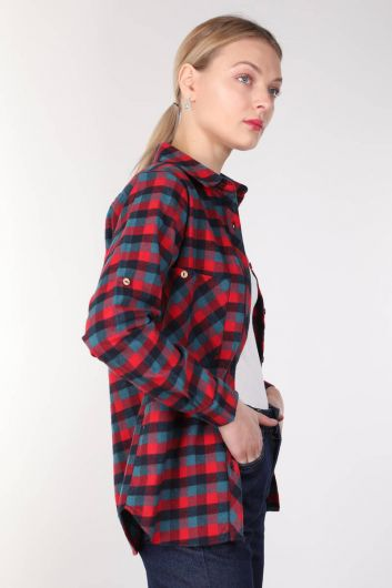 BLUE WHITE - Multi Color Pocket Plaid Women's Shirt (1)