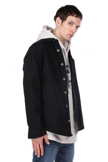 MARKAPIA MAN - جاكيت رجالي جينز كبير الحجم مع جيوب (1)