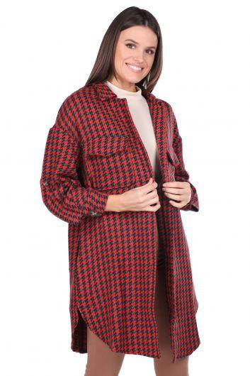 Cepli Oversize Kırmızı Uzun Kadın Ceket - Thumbnail