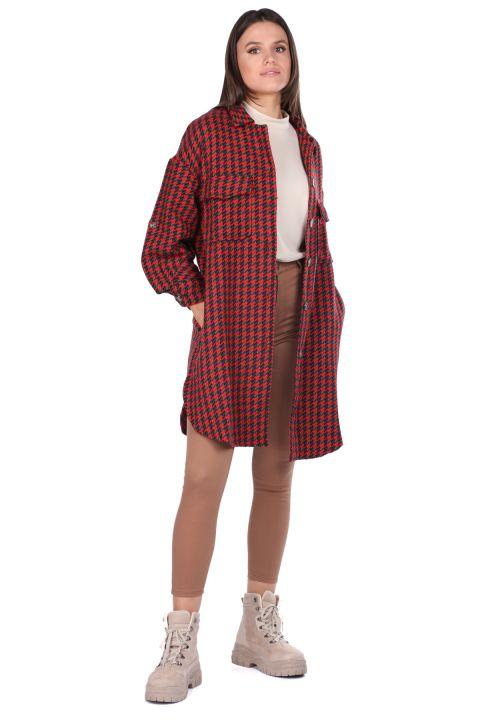 Cepli Oversize Kırmızı Uzun Kadın Ceket