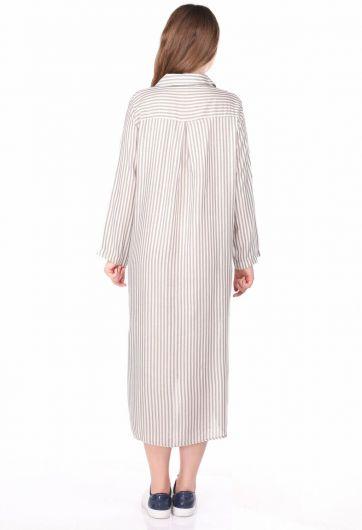 Çizgi Desenli Kadın Gömlek Elbise - Thumbnail