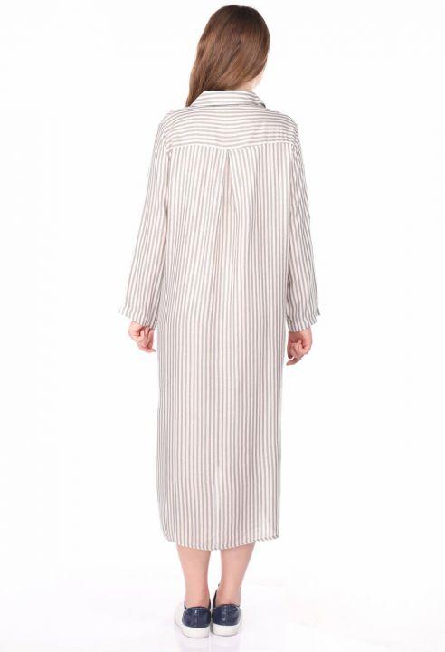 Çizgi Desenli Kadın Gömlek Elbise