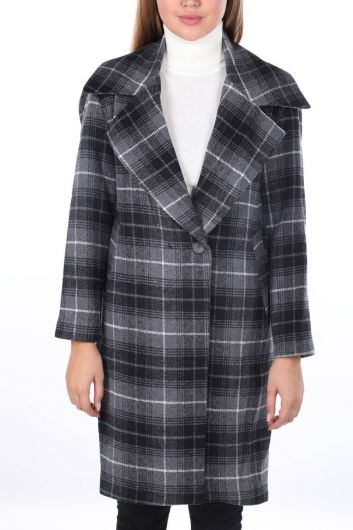Plaid Patterned Cachet Coat - Thumbnail