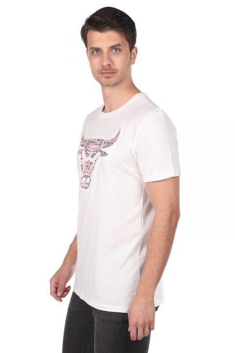 Мужская футболка с короткими рукавами и круглым вырезом с тиснением