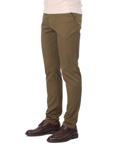 MARKAPIA MAN - سروال تشينو أخضر زيتي للرجال (1)