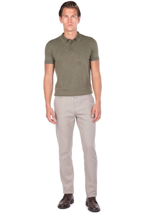 Beige Men's Chino Trousers