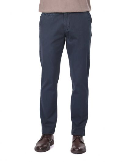 Темно-синие мужские брюки чинос - Thumbnail