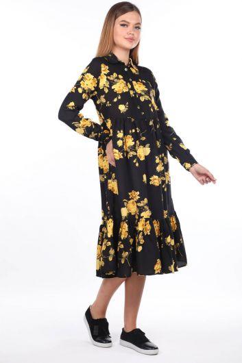 Çiçek Desenli Midi Elbise - Thumbnail