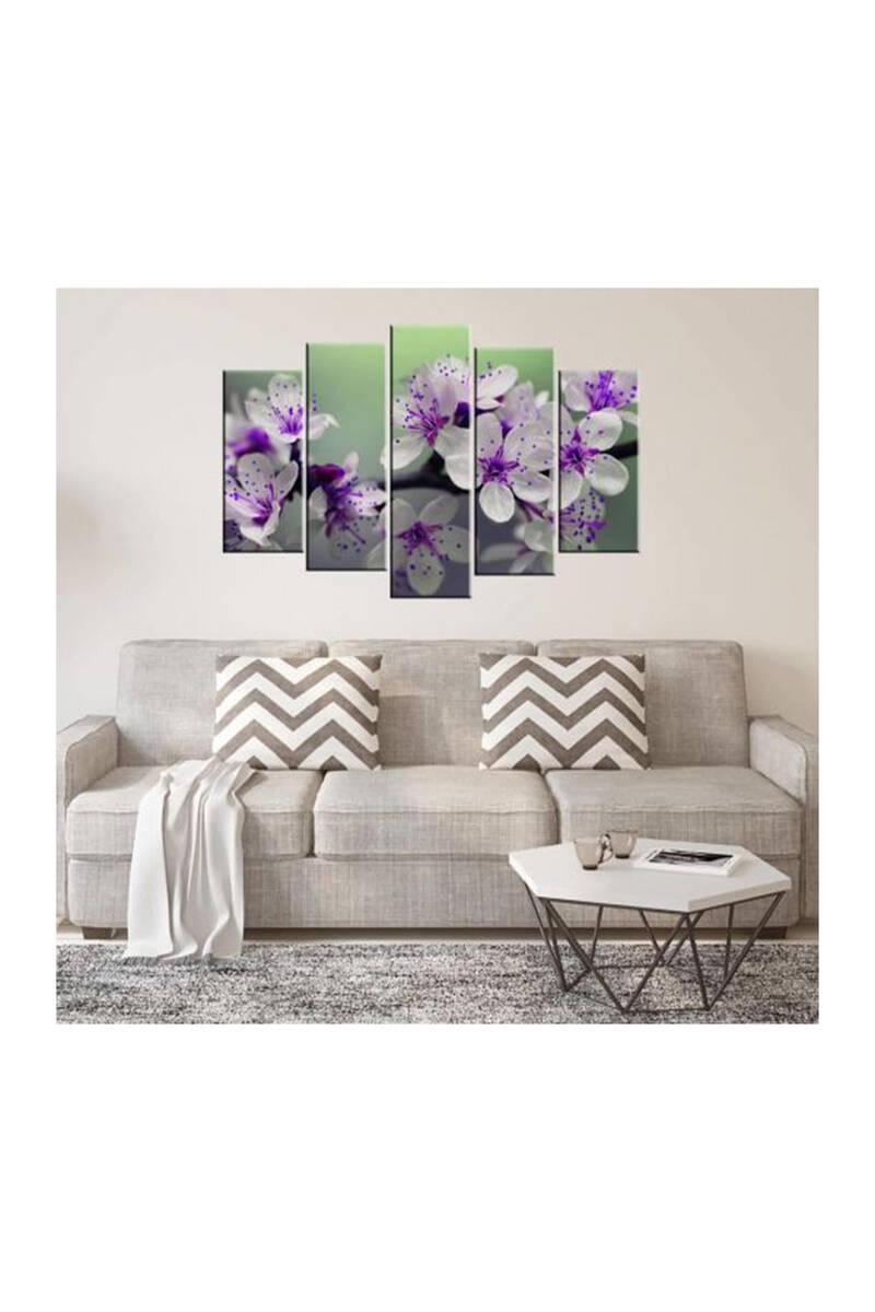 Çiçek Temalı 5 Parçalı Mdf Tablo-3191