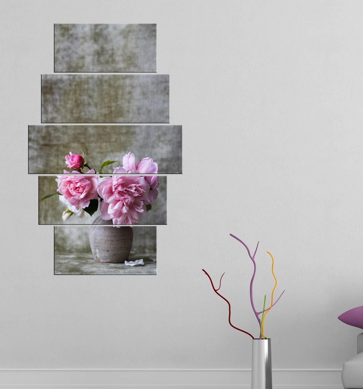 Çiçek Temalı 5 Parçalı Mdf Tablo-3203