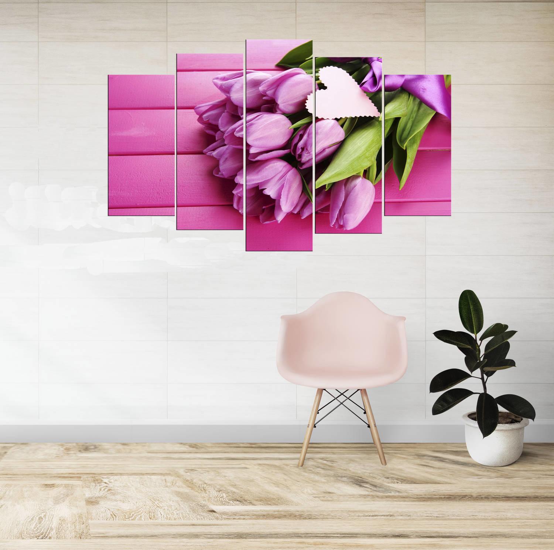 Çiçek Temalı 5 Parçalı Mdf Tablo-3493