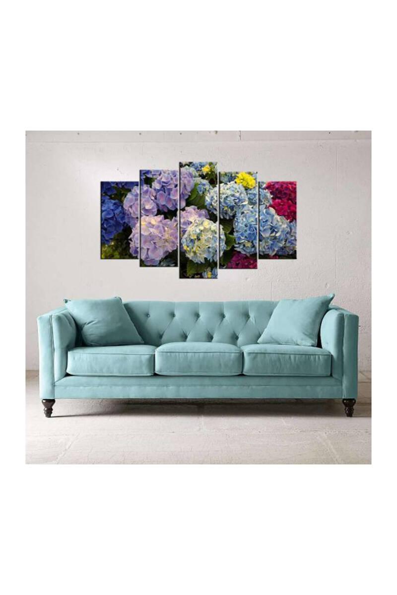 Çiçek Temalı 5 Parçalı Mdf Tablo-3507