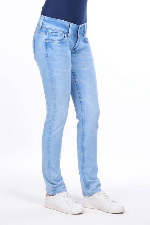 Çift Düğmeli Düşük Bel Jean Pantolon