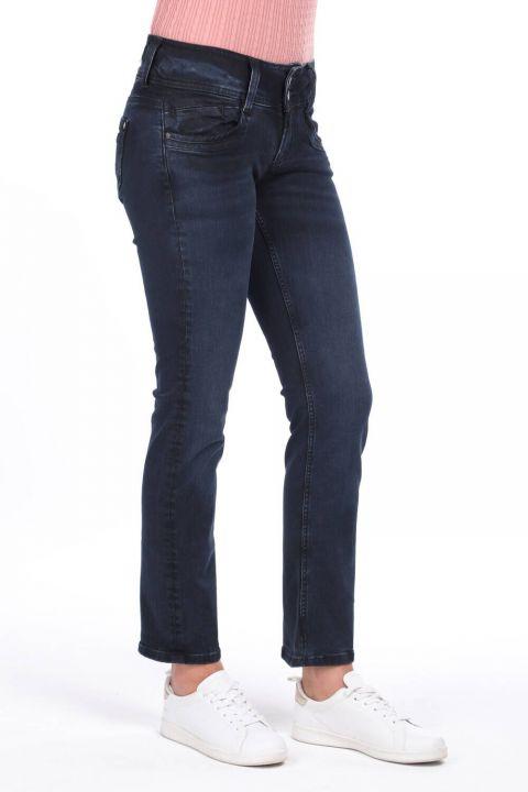 Çift Düğmeli Yüksek Bel Jean Pantolon