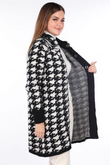 MARKAPIA WOMAN - Плотный черный женский трикотажный кардиган на кнопках (1)