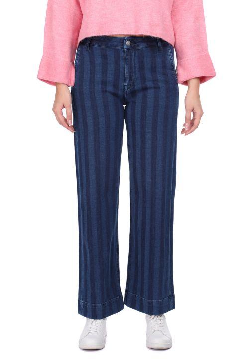 Çizgili Geniş Paça Lacivert Kadın Jean Pantolon