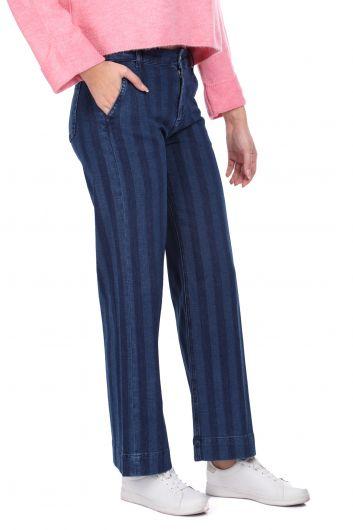 MARKAPIA WOMAN - Çizgili Geniş Paça Lacivert Kadın Jean Pantolon (1)