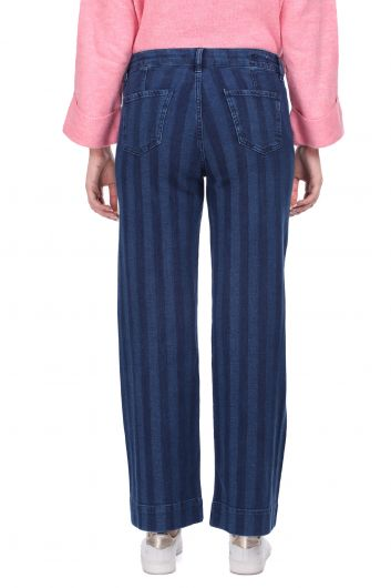 Çizgili Geniş Paça Lacivert Kadın Jean Pantolon - Thumbnail