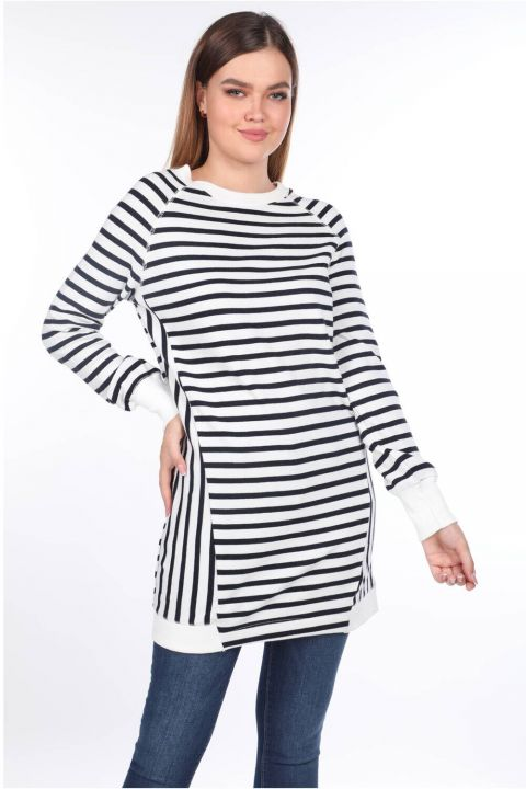 Çizgili Reglan Kol Uzun Kadın Sweatshirt