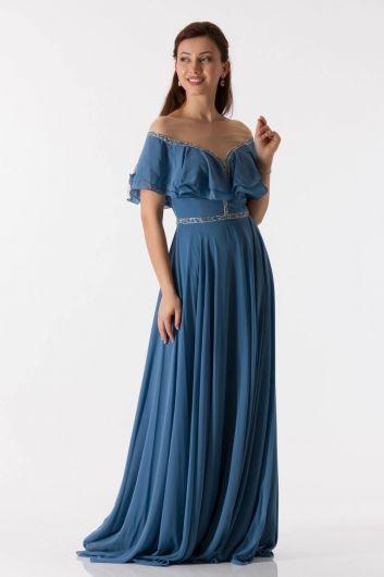shecca - فستان سهرة شيفون طويل نيلي بتفاصيل كشكش (1)