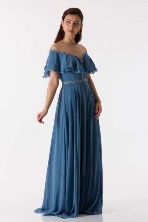 Ruffle Detailed Indigo Long Chiffon Evening Dress