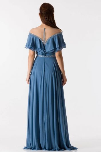Ruffle Detailed Indigo Long Chiffon Evening Dress - Thumbnail