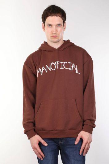 Brown Printed Men's Hooded Sweatshirt - Thumbnail