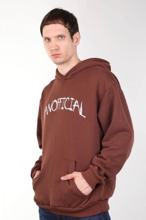 Brown Printed Men's Hooded Sweatshirt