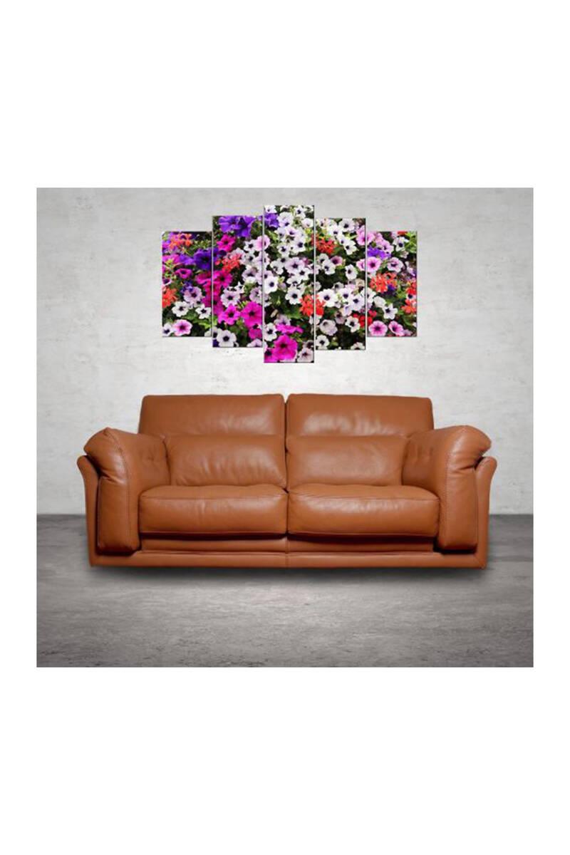 Çok Renkli Çiçek 5 Parçalı Mdf Tablo