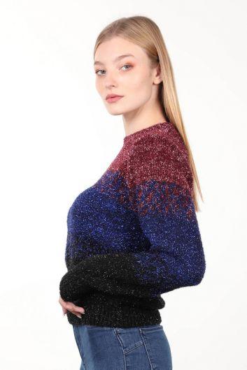 MARKAPIA WOMAN - سترة تريكو نسائية متعددة الألوان برقبة دائرية فضية (1)
