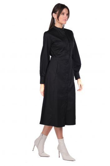 MARKAPIA WOMAN - فستان أسود بياقة مستديرة وأزرار (1)