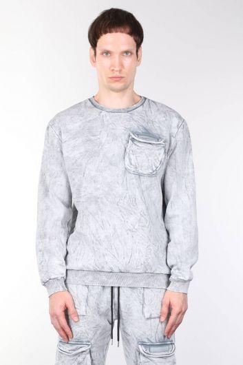 قميص من النوع الثقيل للرجال بياقة دائرية مع جيوب - Thumbnail